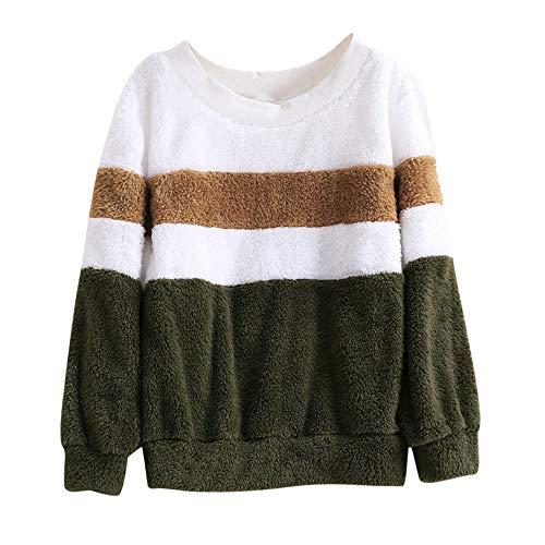 iHENGH Kapuzenpullover Damen,Women Sweatshirt Herbst Winter Farbe Passend Solid Patchwork O Neck Sweatshirt Casual Bluse Clearance Sale