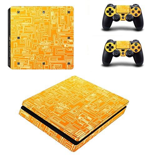 dotbuy PS4slim Coque Skin autocollant Stickers Design Film Seconde Peau pour Sony Playstation 4slim Console et 2manettes DualShock Orange Maze