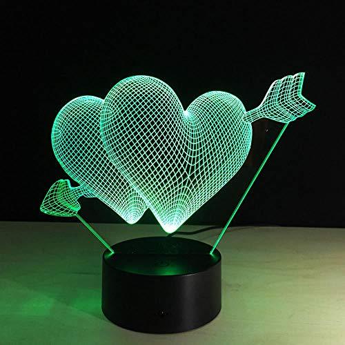 VOTOVCOM 3D Amor Pfeil Nachtlicht Schöne RGB Liebe Herzform Schlafzimmer Lampe Für Paare Liebhaber Hochzeitstag Speicher Geschenk -