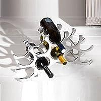 "DESIGN DELIGHTS DECORATIVE ALU WINE RACK TEN for 10 wine bottles 18.9"" silver from Xtradefactory"