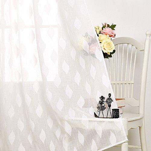 Deconovo Tende Camera da Letto a Finestre Trasparenti in Voile Tende a Pannello Moderne per la Casa 140x240cm 2 Pannelli Bianco