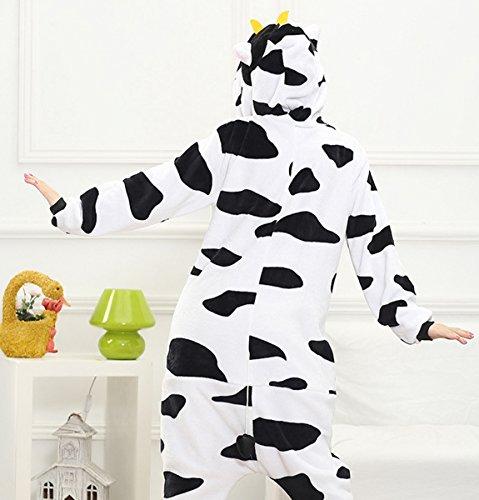 Femmes dames Hommes Adulte Unisex Fleece animale Onesies Nouveauté Pyjamas Nightwear costumes Halloween vache