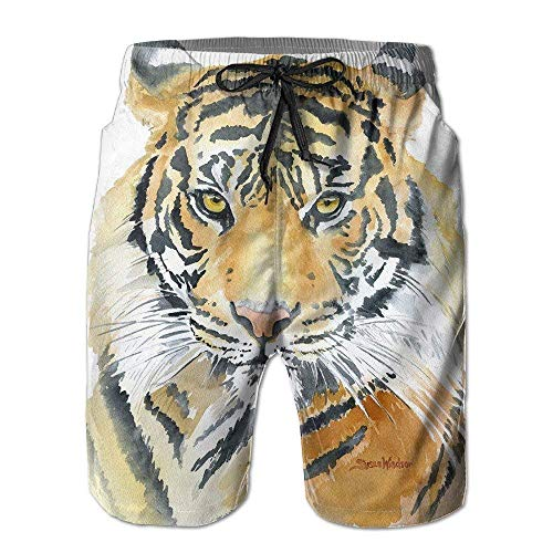 RAINNY Men'sYellow and Black Wonderful Tiger Watercolor Comfortable Cotton Swimming Short Boardshort Beach Pants XXL Cotton Beach Pants