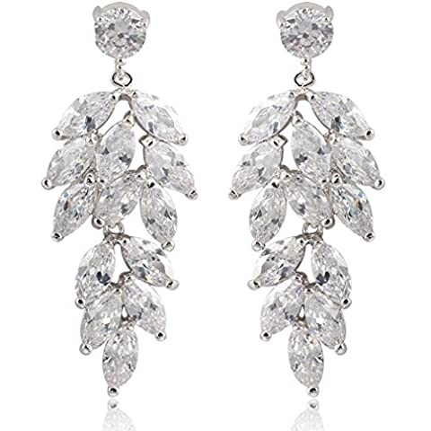 Yazilind Dazzling Rhodium Plated Chandelier Leaves Clear Marquise Cut Cubic Zirconia Dangle Earrings