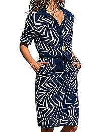 Vestido para Mujer Largo Bolsillo Imprimir Manga Larga Corte Ajustado Holgado Cómodo Informal Otoño Simple Retro