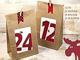 Adventskalender Elch DY Set Zahlenaufkleber Papiertüte mit Boden Holzklammern