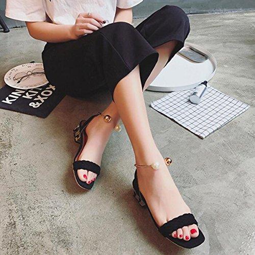Mot Sexy Sandales à Bout Ouvert Simples Fermoir Perle Bouche Peu Profonde Chaussures à Talons Tête Carrée Black