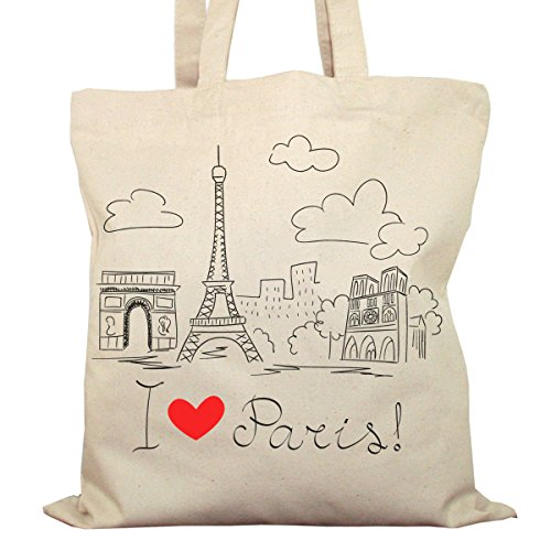 Tote Bag Imprimé Ecru - Toile en coton bio - I love Paris !