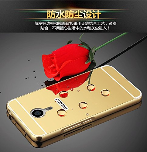 Badhiyadeal Luxury Metal Bumper Acrylic Mirror Back Cover Case For Meizu m3 note – Gold
