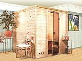 Massivholz Sauna Lemi 196cm x 196cm x 200cm inkl. Zubehörset