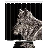 KOTOM Set de cortinas y esteras de ducha de animales, lobo gris sobre fondo negro Animal...