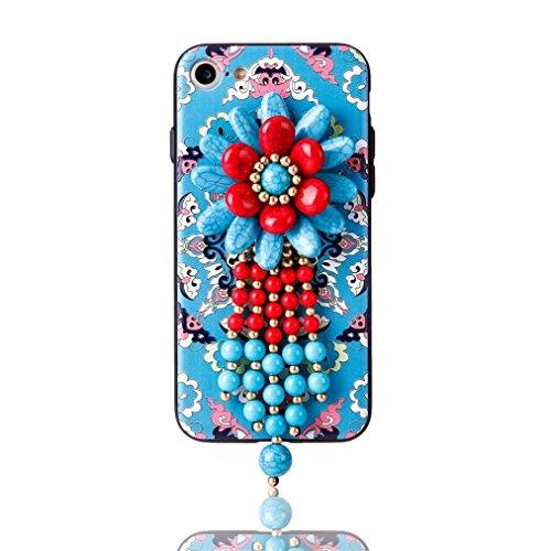 Cover per iPhone 7, Tpulling Custodia per iPhone 7 Case Cover Copertura esotica della borsa del telefono delle perle di boutique per il iPhone 7 4.7 pollici (B) F