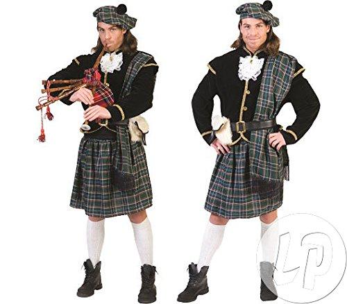 Herren Kostüm Schotte Clansman Schottland Fasching 5 Teile, Multicolor, - Schottland Kostüm