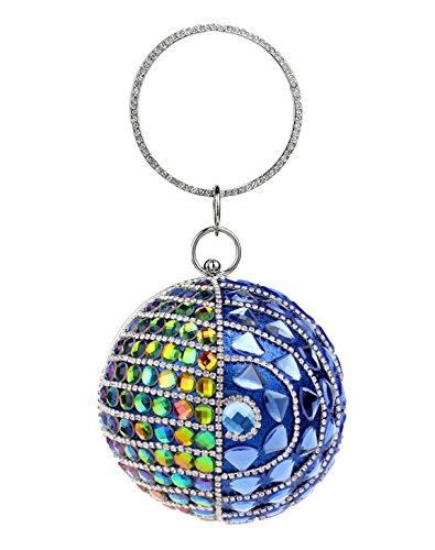 Santimon-Frauen-Clutches-Glitzernde Rhinestones-Korn-Kristall-Runde Form-Handtasche Für Abend-Partei-Cocktail Blau