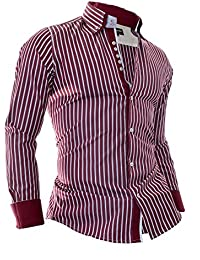 Mens Elegant Shirt Stripes Pattern Slim Fit Casual Formal Party Cotton Brown Red