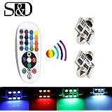 S & D 36mm 1.4pulgadas Multicolor Dome Festoon Coche LED luz fácil controlado con colores RGB–6SMD 5050más remotos (Pack de 2)