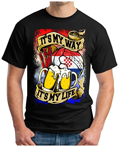 OM3 - CROATIA-MY-WAY - T-Shirt HRVATSKA MY LIFE EM 2016 FRANCE BIER BEER FANSHIRT SOCCER DRINK SPORT GEEK SWAG, S - 5XL Schwarz
