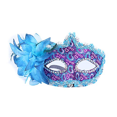 anische mit Blume Blau Stoffbezug Maske Maske Maskerade Karneval Fasching Verkleidung Kostüm Halloween Party Maskenball Ball Shades of Grey Mr Grey Mitternacht (Halloween Kostüm Ball)