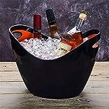 Lingotto di Vetro Trasparente Secchiello per Ghiaccio Barile di Vino Champagne Barile di Grano Barile di Vino Barile di Birra in plastica, Grande Nero