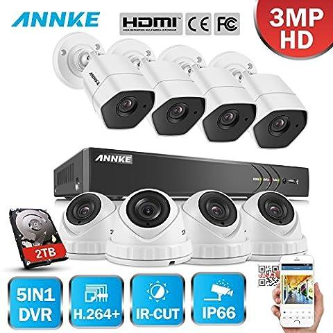 ANNKE 8CH HD-TVI H.264+ DVR (8) Caméras 3.0MP Jour/Nuit Intérieur Extérieur Dôme Bullet Système de Vidéosurveillance Caméra de Surveillance Détection de mouvement avec Disque Dur de 2TB
