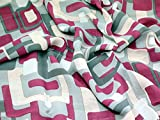 Geometrische Blocks Print Viskose Chiffon Kleid Stoff grau