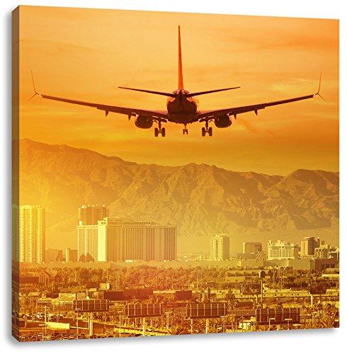 Pixxprint Urlaubsreise nach Las Vegas / 60x60cm Leinwandbild bespannt auf Holzrahmen/Wandbild Kunstdruck Dekoration