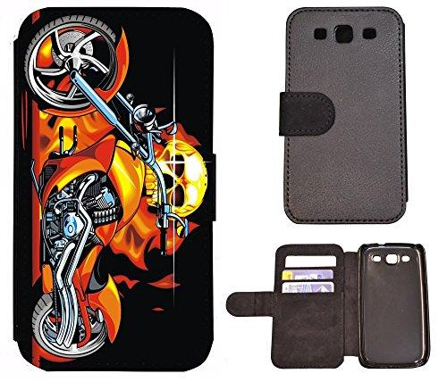 Flip Cover Schutz Hülle Handy Tasche Etui Case für (Apple iPhone 5 / 5s, 1011 Tige Schwarz Weiß Feuer) 1018 Totenkopf Skull Motorrad Feuer