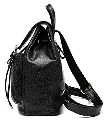 Tibes Zaino Pelle Borsa Zaino Backpack Borsello Donna Schoolbag Zaino Per Scuola Nero