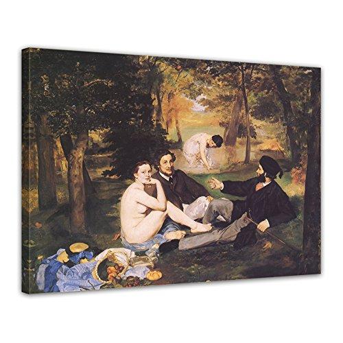 Leinwandbild Édouard Manet Das Frühstück im Grünen 2-70x50cm quer - Wandbild Alte Meister Kunstdruck Bild auf Leinwand Berühmte Gemälde