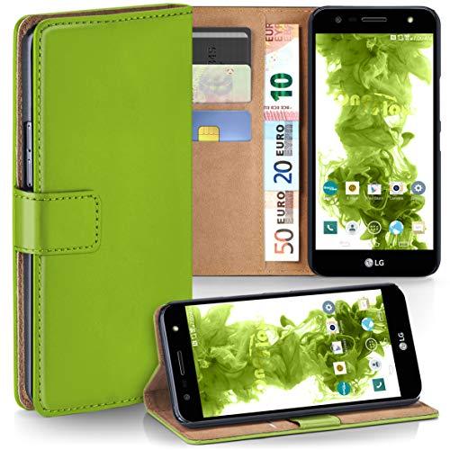 moex LG X Power 2 | Hülle Grün mit Karten-Fach 360° Book Klapp-Hülle Handytasche Kunst-Leder Handyhülle für LG X Power 2 Case Flip Cover Schutzhülle Tasche