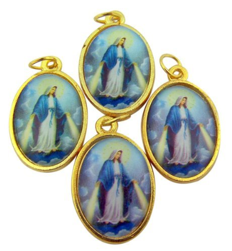 lot-of-4-our-lady-of-grace-1-gold-plate-miraculous-medal-with-color-icon-pendant-by-autom