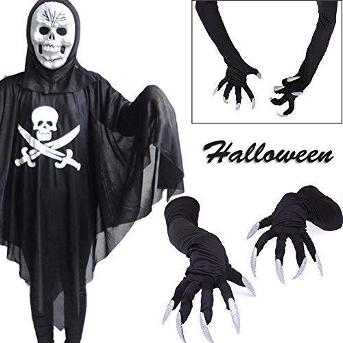 Handschuhe Halloween Nägel weiß Mini lustige künstliche Nägel Hexe Schreckend Katze für Frauen