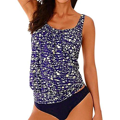 TWIFER Damen Tankini Bikini Bademode Badeanzug Slip Set Große Größen (XL, Dunkelblau) (Große Cup-prothese)
