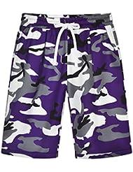Mujer Pantalones Cortos de Camuflaje con Cordón Baggy Fitness Deportivos Pantalón de Entrenamiento Verano Informal Cintura Elástica Shorts S M L XL XXL