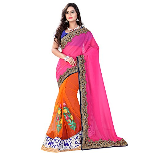 Glory Sarees Women\'s Georgette and Net Saree(mb5700_pink_orange)