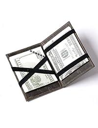 Hombres Cuero Billetera Mágica Efectivo Identificación Tarjetas Crédito Delgada con Banda elástica
