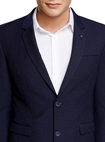 oodji Ultra Herren Klassischer Sakko mit Verziertem Aufschlag Blau (7900O)
