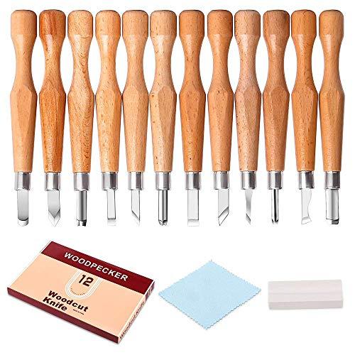 Holz Schnitzwerkzeug Set, TopDirect 12 Stück Holz Schnitzmesser Meißel Holzschnitzerei Messer mit Schärfstein für Profis und Anfänger für DIY Holz, Gemüse, Obst