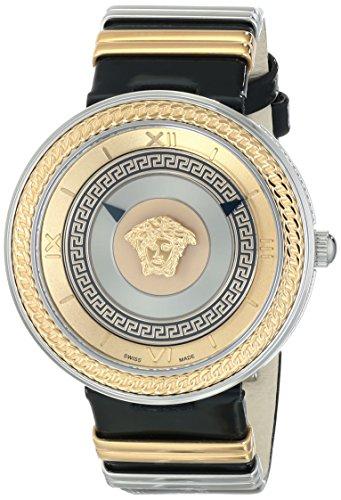 Versace VLC020014 V-Metal Icon-Damenuhr aus Edelstahl mit schwarzem Lederband