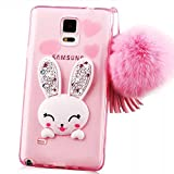 MYZ Guard Samsung Galaxy S5 GT-I9600 S5 Neo SM-G900F SM-G903F Pom Pom Bunny Phone Case, Cute Rabbit Style Plush Fur Ball Diamond Tassel Soft TPU Gel Back Case Cover Rubber Bumper (Samsung Galaxy S5 I9600, Pink) + Samsung S5 'Anti-Explosion' Tempered Glass Crystal Clear Screen Protector Film + Universal Multi-Angle Adjustable Phone Holder Cradle Stander + Universal Multi-Angle Adjustable Phone Holder Cradle Stander, 3 in 1 Phone accessories