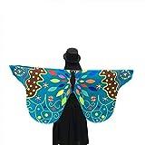 WOZOW Damen Schmetterling Flügel Kostüm Nymphe Pixie Umhang Faschingkostüme Schals Poncho Kostümzubehör Zubehör (Grün gemustert)