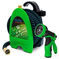 """Rolio Expandable Garden Hose with Hose Reel - 75 FT Garden Hose with 9 Function Spray Nozzle Included, 3/4"""" Solid Brass Fittings, No Kinks"""