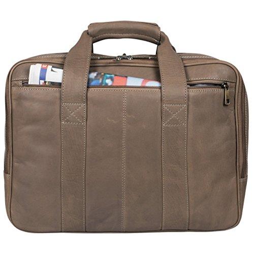 STILORD Leopold Grande borsa in pelle da Insegnante Professore Portadocumenti a tracolla per Ufficio Lavoro A4 raccoglitori in cuoio Uomo Donna marrone - grigio