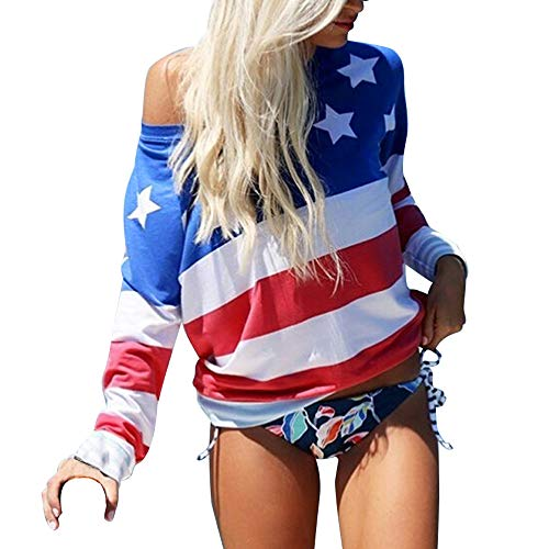 DQANIU ❤️Damen Tops❤️ Frauen American Flag Druck Casual Sommer Oansatz Camis Tank Tops Bluse Lose T-Shirt