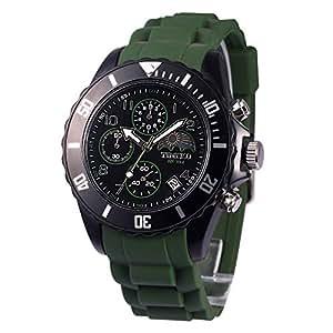 Time100 Orologio da Uomo&Donna Sportivo e Multifonzionale Cinturino di Silicone (Verde)