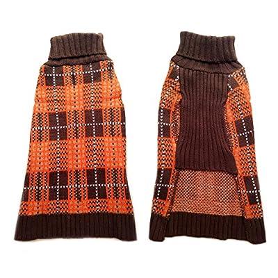 Cute Soft TARTAN Style Orange/Brown/White Puppy Dog Sweater Jumper Clothes Coat
