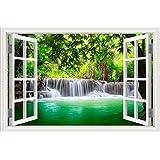 Adhesivo decorativo para pared, decoración para el hogar, adhesivo de vinilo, diseño de cascada y bosque, paisaje de naturaleza en 3D, W0811, 32X48