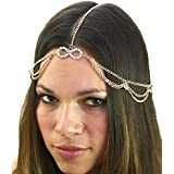 Women's Bohemian Fashion Head Chain Jewelry - Rhinestone Infinity Loop Charm 2 Draping Strand