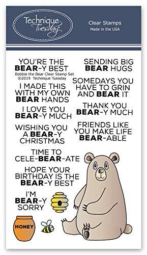 Bobbi The Bear Clear Stamps - Photopolymer Stempel - Klare Gummistempel - Tiergummi Stempel für Karten (Inspirierende Scrapbook-papier)