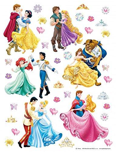 1art1 106581 Disney Prinzessin - Ariel, Jasmine, Rapunzel, Belle, Cinderella and Snow White, Disney Wand-Tattoo Aufkleber Poster-Sticker 30 x 30 cm (Disney Tattoo Prinzessinnen)
